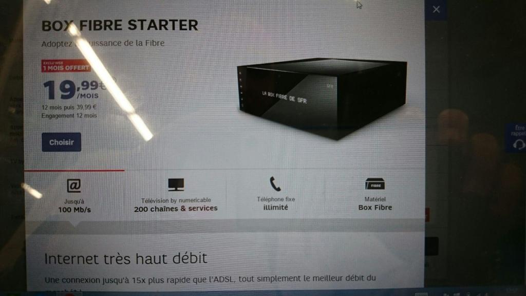 Exclu Web box fibre starter de SFR à 19.99€ + 1 mois offert + cashback igraal 35€