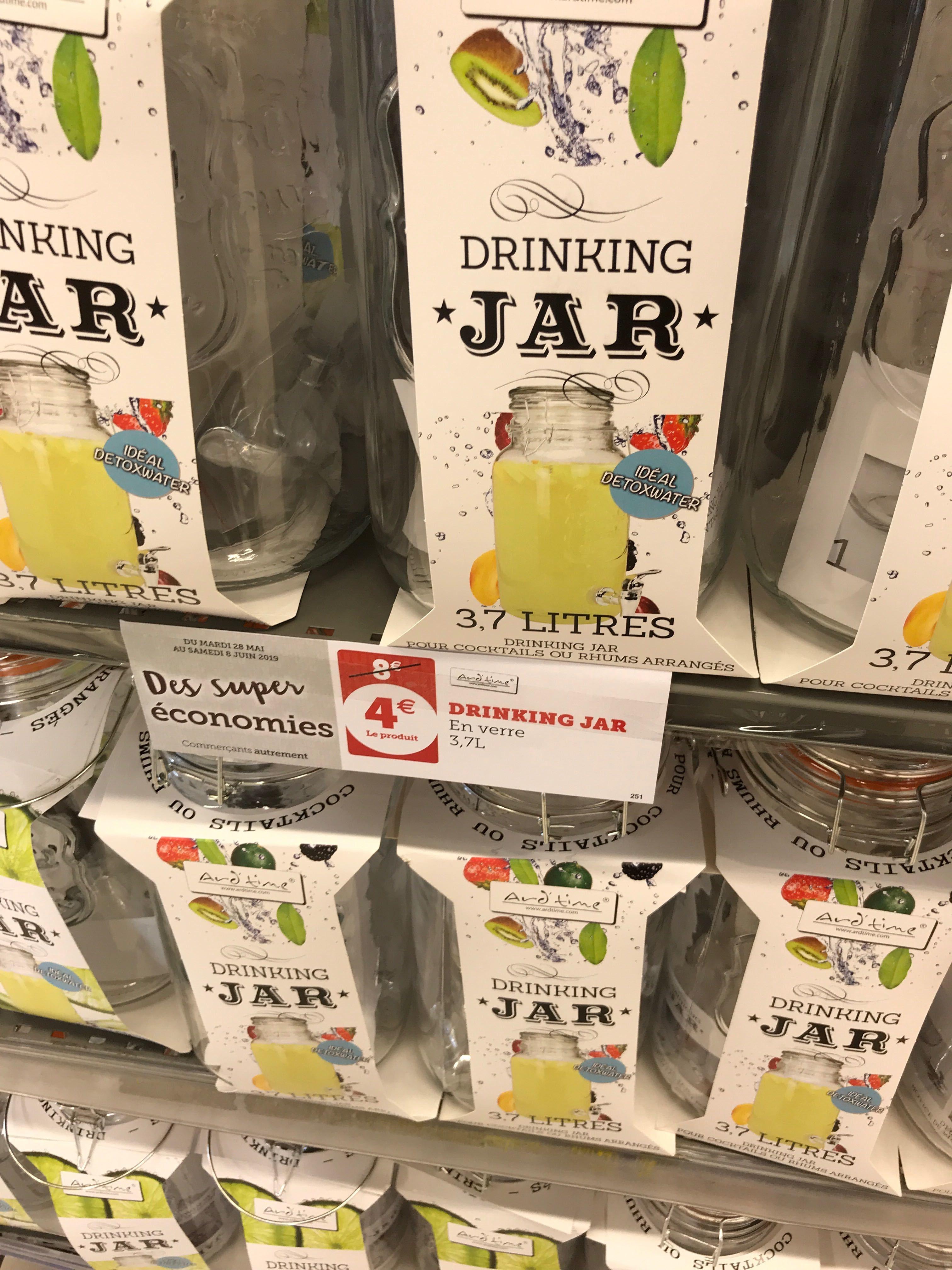 Fontaine à boisson - Drinking Jar Ard'time en verre avec un robinet - 3,7 litres, Super U de Wolfisheim (67)