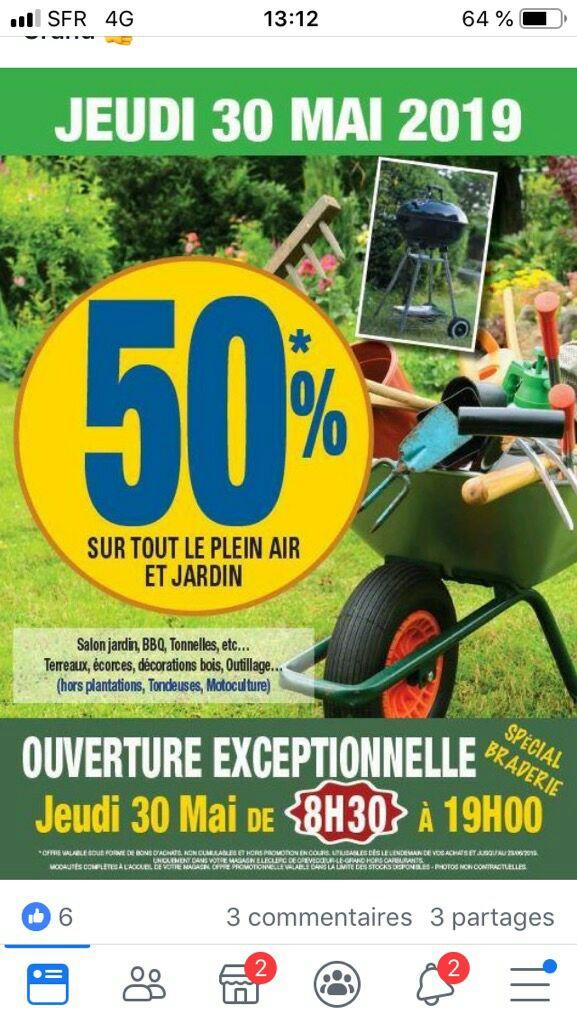 50% de réduction sur tout le jardin et plein air - Crevecoeur Le Grand (60)