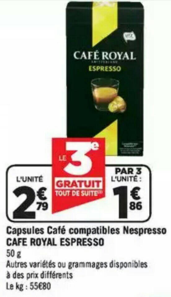 15 Boites de dosettes Café Royal compatible Nespresso (via 13.95€ shopmium)