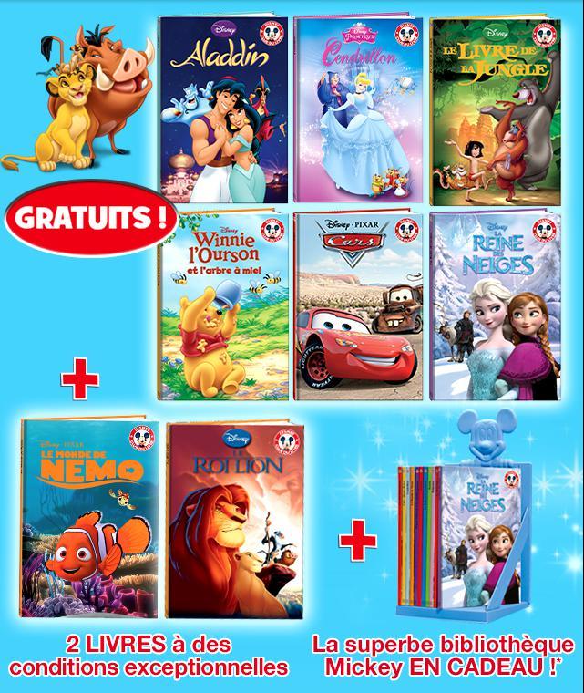 6 Livres Disney gratuits + Bibliothèque Mickey offerte
