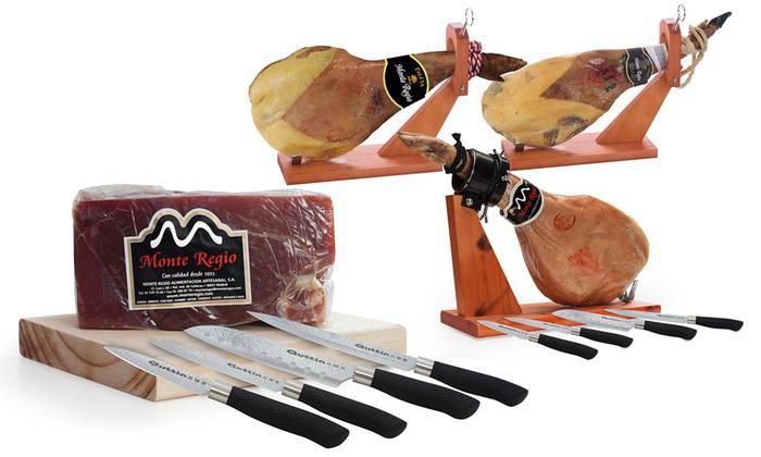 Différents Jambons espagnols et set de 4 couteaux Monte Regio
