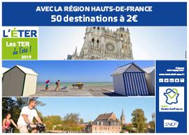 [Opération éTER] Trajet A/R en TER à destination de certaines villes et à certaines périodes pour 2€ - région Hauts-de-France