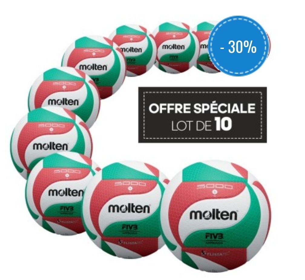 Lot de 10 ballons de compétition Molten V5M5000
