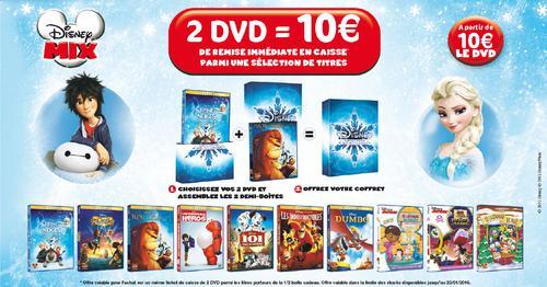 10 € de réduction pour l'achat de 2 DVD Disney