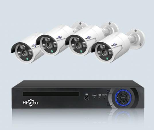 Kit de surveillance Hiseeu NRV 8CH - 4 caméras 1080P (Entrepôt Espagne)