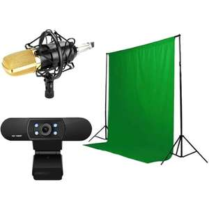Pack Streamer 4 en 1 Steelplay Pro HD - Micro + trépied + Webcam + Fond vert