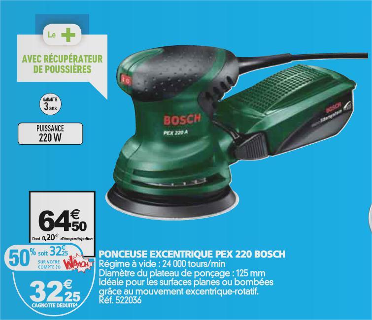 50% crédités sur la carte sur une sélection de produits Bosch - Ex: Ponceuse Bosch PEX220 (avec 32.25€ sur la carte)
