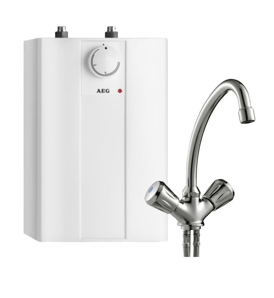 Chauffe eau instantané AEG 229287 Huz 5 Basis avec un robinet mélangeur pour montage sous meuble (5L, 2 kW, 230 V)