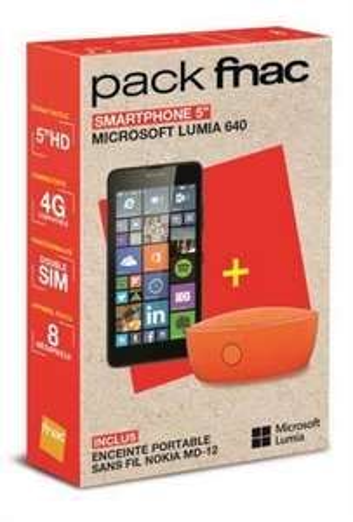 Smartphone Nokia Lumia 640 8 Go - Noir + Enceinte Nokia MD-12 (via ODR 30€)  en magasin (METZ)