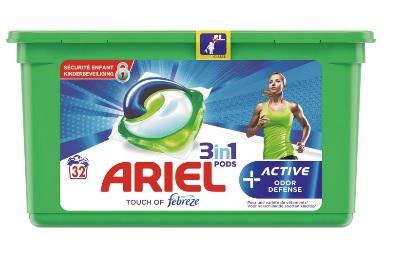 Boite de 32 capsules de lessive Ariel 3 en 1 Active (Via 9.79€ sur la carte de fidélité + BDR)