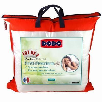 Lot de 2 oreillers anti-acariens Dodo Belle Nuit - 60x60 cm, Blanc (+Éventuelle Offre Spéciale)