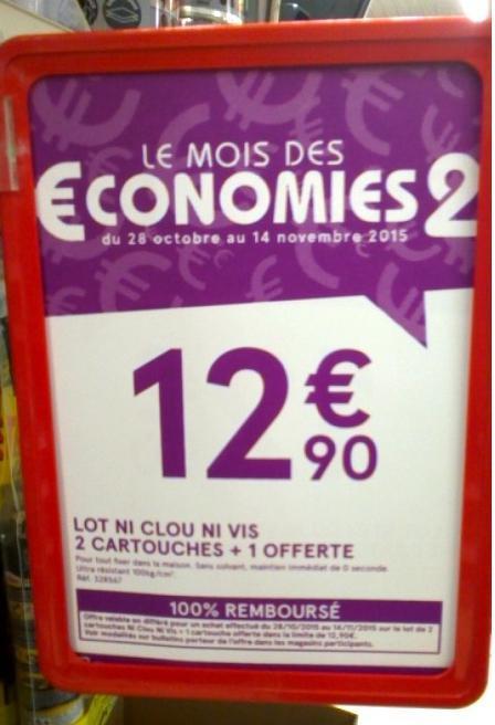 Lot de 3 Cartouches Ni Clou Ni Vis 100 % Remboursé (via ODR)