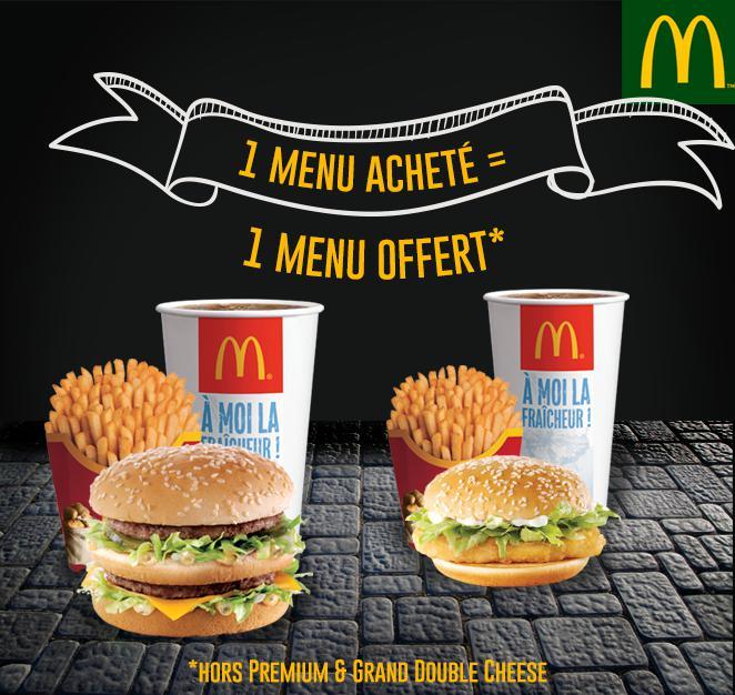 1 menu Maxi Best Of acheté = 1 menu Maxi Best Of offert pour les commandes