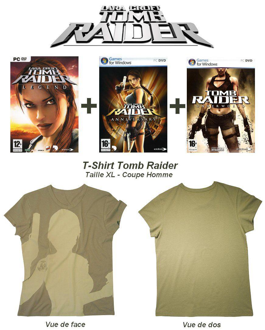 Eidos pack spécial Tomb raider T-Shirt XL + 3 jeux ( Legend, Underworld et Anniversary ) OEM
