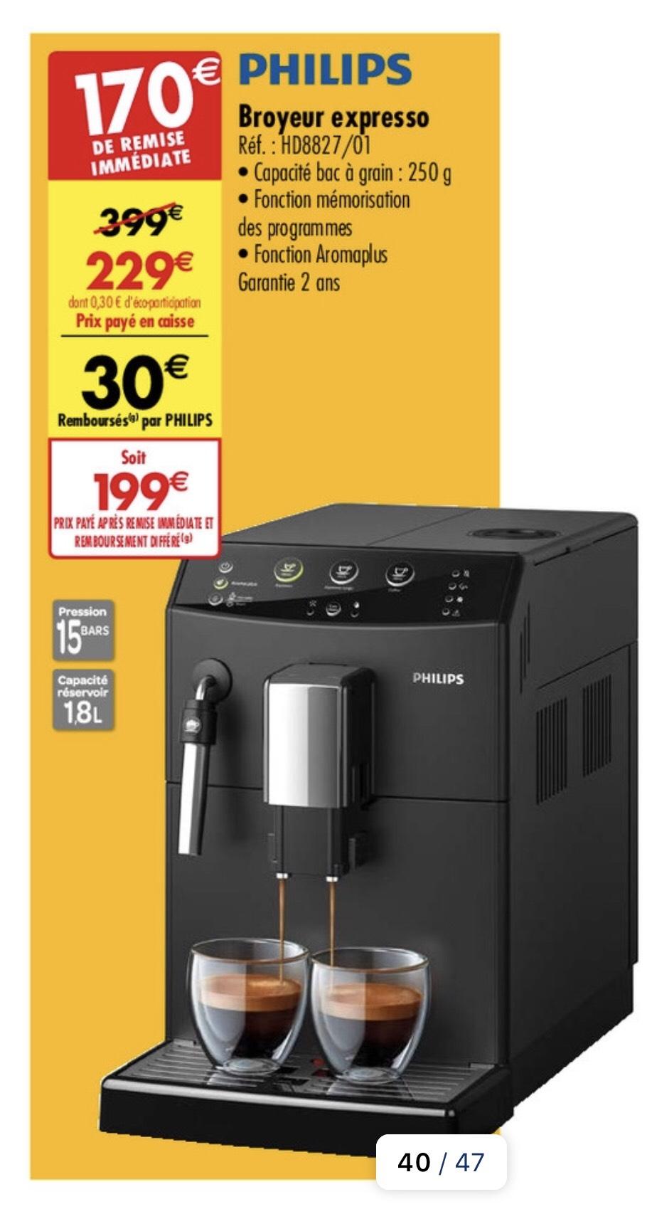Machine Espresso Automatique Philips HD8827/01 - 1.8L (avec ODR 30€)
