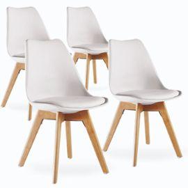 Lot De 4 chaises Style Scandinave Pieds En Bois - Blanc (+9.90€ en SuperPoints)