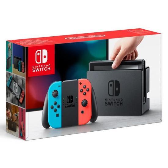 Console Nintendo Switch avec un Joy-Con rouge néon et bleu néon + Protection en verre trempé