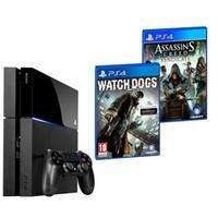 Pack Console Sony PS4 1 To + 3 jeux (Uncharted Collection, Assassin's Creed Syndicate et Watch Dogs)