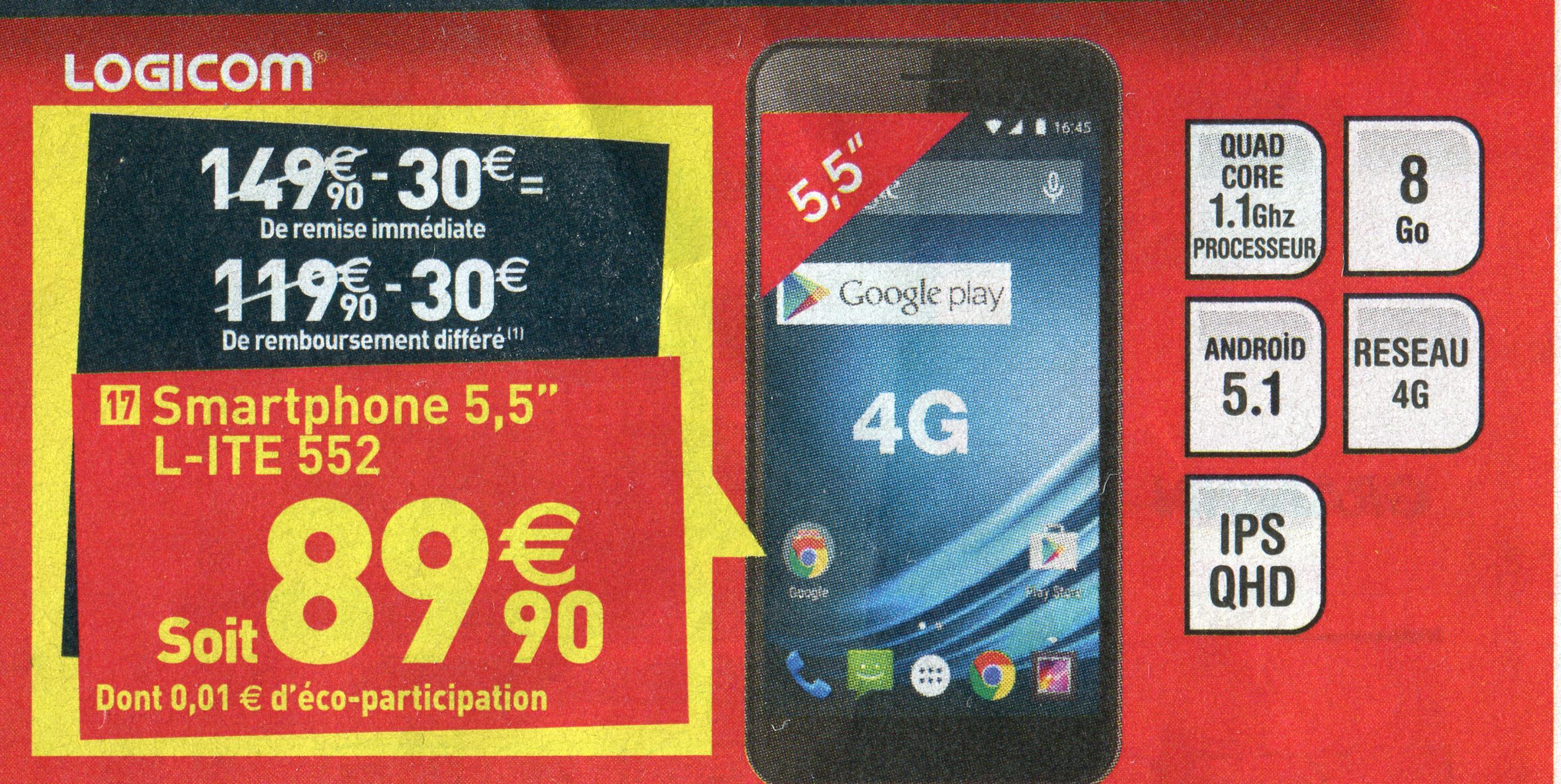 "Logicom L-ITE 552 - Ecran 5.5"" IPS - 4G - Android 5.1 Lollipop - Quad Core"