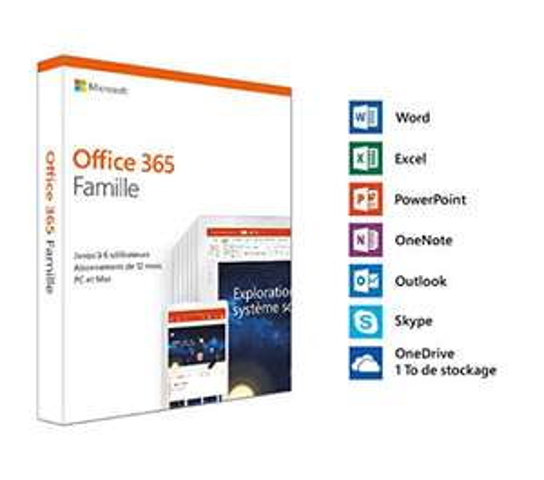 Licence 1 an Microsoft Office 365 Famille - Jusqu'à 6 utilisateurs