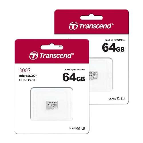 Lot de 2 Cartes Micro SDXC Transcend - 64Go