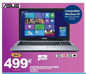 "PC portable 15.6"" Asus R511LA-XX1296H (i5-5200U, 1368 x 768, 4 Go Ram, 1 To HDD)"