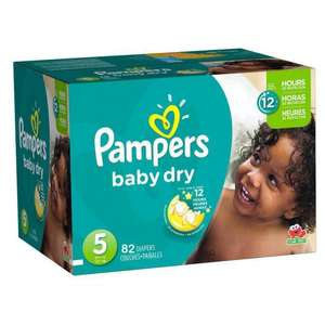 Sélection de couches Pampers en promotion - Ex : 82 couches Baby Dry taille 5