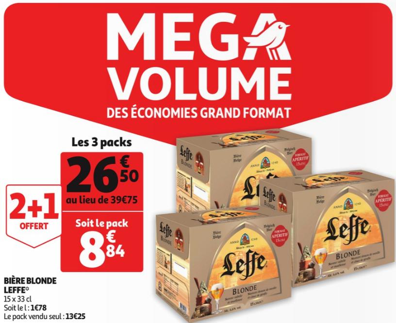 3 Packs de bières blondes Leffe - 45x33cl