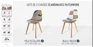 Lot de 2 chaises scandinaves Nordic chic Patchwork