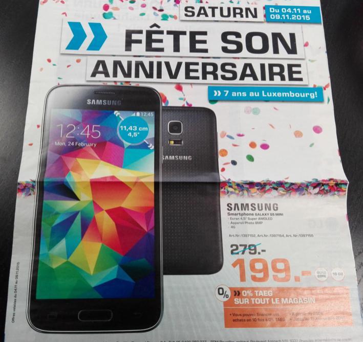 "Smartphone 4.5"" Samsung Galaxy S5 mini"