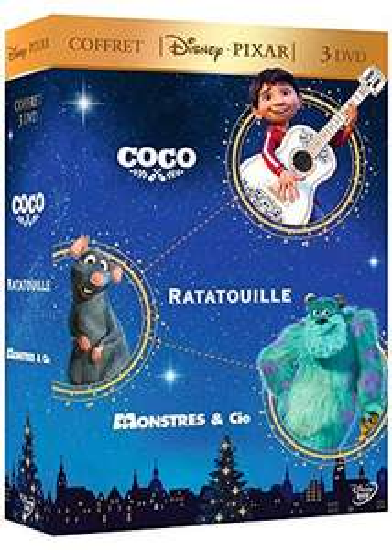 Coffret DVD : Disney Pixar Coco + Ratatouille + Monstres & Cie