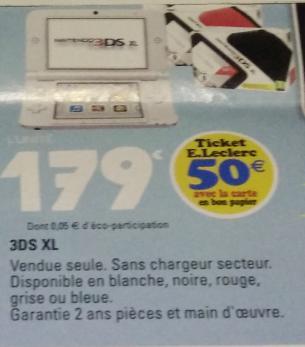 Console Nintendo 3DS XL Blanche (50€ en bon d'achat)