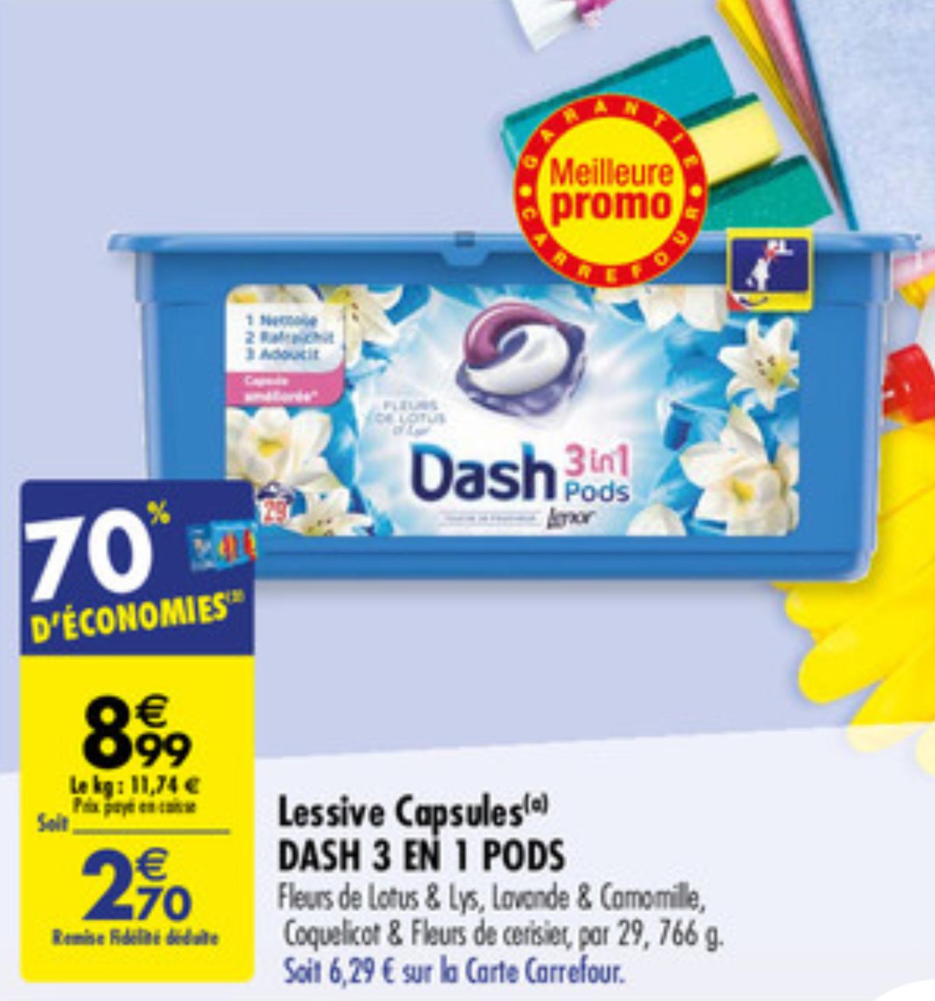 Pack de capsules Dash 3 en 1 Pods (avec 70% sur la carte)