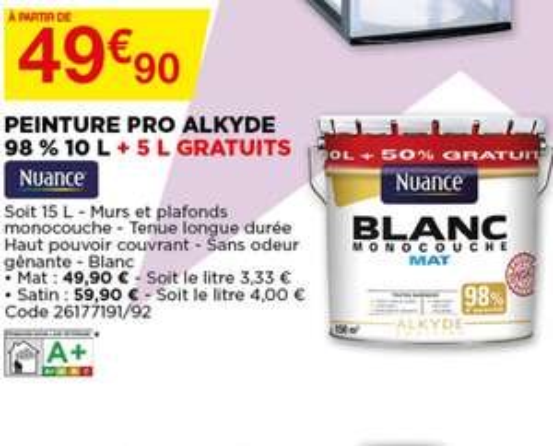 Peinture monocouche Nuance - Alkyde 98%, 15L, Blanc Mat - À partir de 49.90