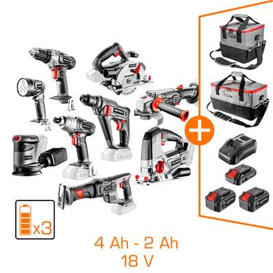 Mega Pack Graphite: 9 machines + 2 batteries Li-Ion 4Ah + 1 batterie Li-Ion 2 Ah + chargeur + 2 sacs porte-outils