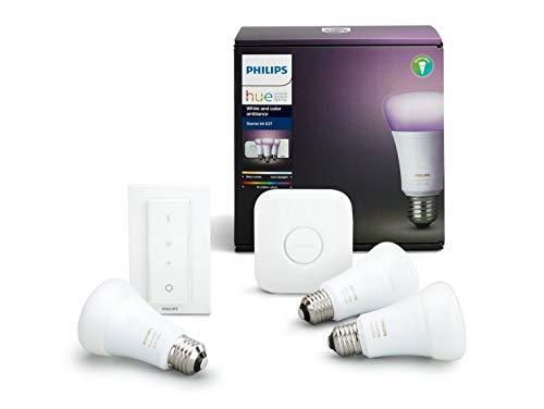 Kit de démarrage Philips Hue: 3 ampoules connectées White and Color Ambiance + Pont + Interrupteur (Reconditionné à neuf - emballage abîmé)