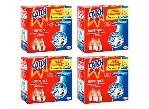Lot de 4 boîtes de 2 recharges anti-moustiques pour diffuseur électrique Catch - 360 nuits