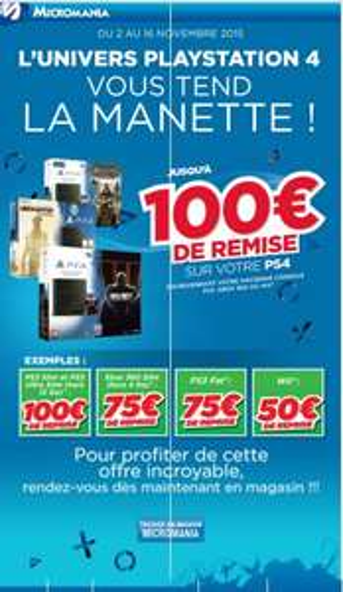 Jusqu'à 100€ de remise sur les PS4 pour la reprise de votre ancienne console