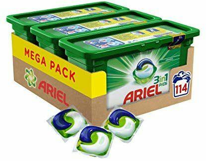 Lot de 3 packs de capsules de lessive Ariel 3en1 Pods Ecodoses Original - 114 lavages (3x38)
