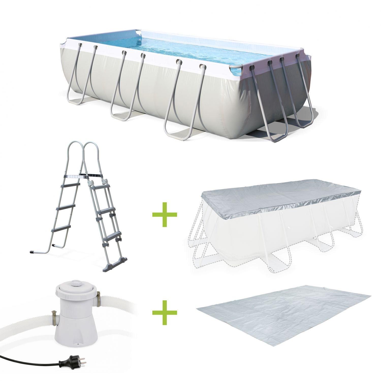 Kit piscine tubulaire Alice's Garden (4x2x0.99 m) + pompe de filtration + bâche de protection + tapis de sol + échelle (vendeur tiers)