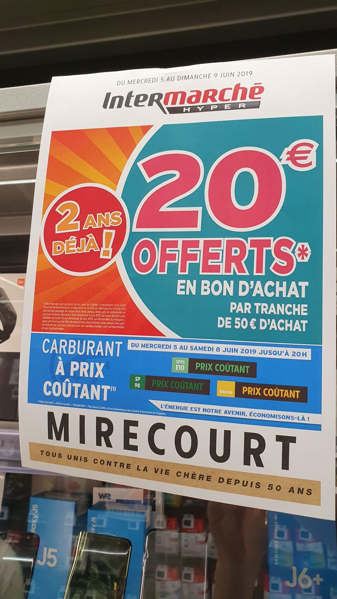 [Carte de fidélité] 20€ offerts en bon d'achat tous les 50€ d'achat (bons valables dès 50€ d'achat, du 10 au 16 juin) - Mirecourt (88)