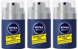 Pack de 3 Soin Barbe Courte + Visage 2-en-1 Nivea Men - 3 x 50 ml