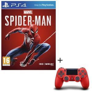Sélection de packs Jeu + Manette - Ex : Marvel's Spider-Man sur PS4 + Manette DualShock 4 Rouge V2