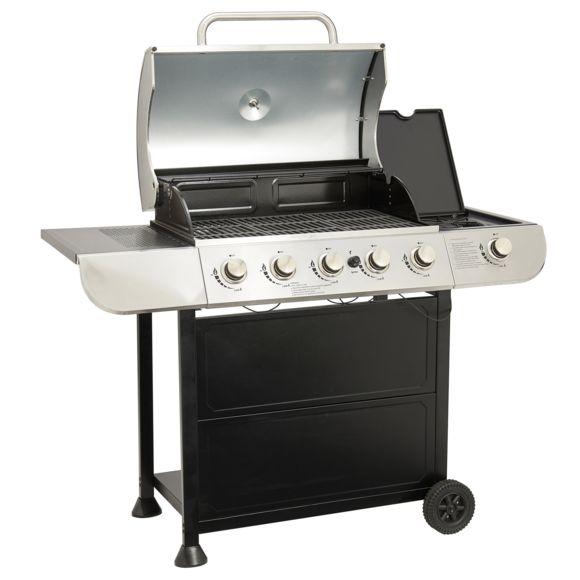 Barbecue à Gaz Kentucky - 5 brûleurs + 1 feu latéral, thermomètre, surface de cuisson : 68 x 40 cm