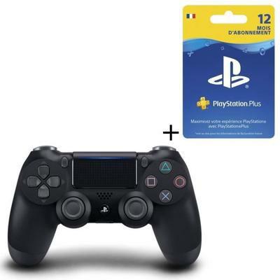 Pack Manette DualShock 4 V2 Noire + Abonnement de 12 mois au PlayStation Plus