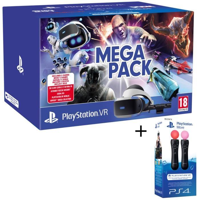 Méga Pack PlayStation VR V2 MK4 + Caméra + 5 Jeux (à télécharger) + Paire de PlayStation Move