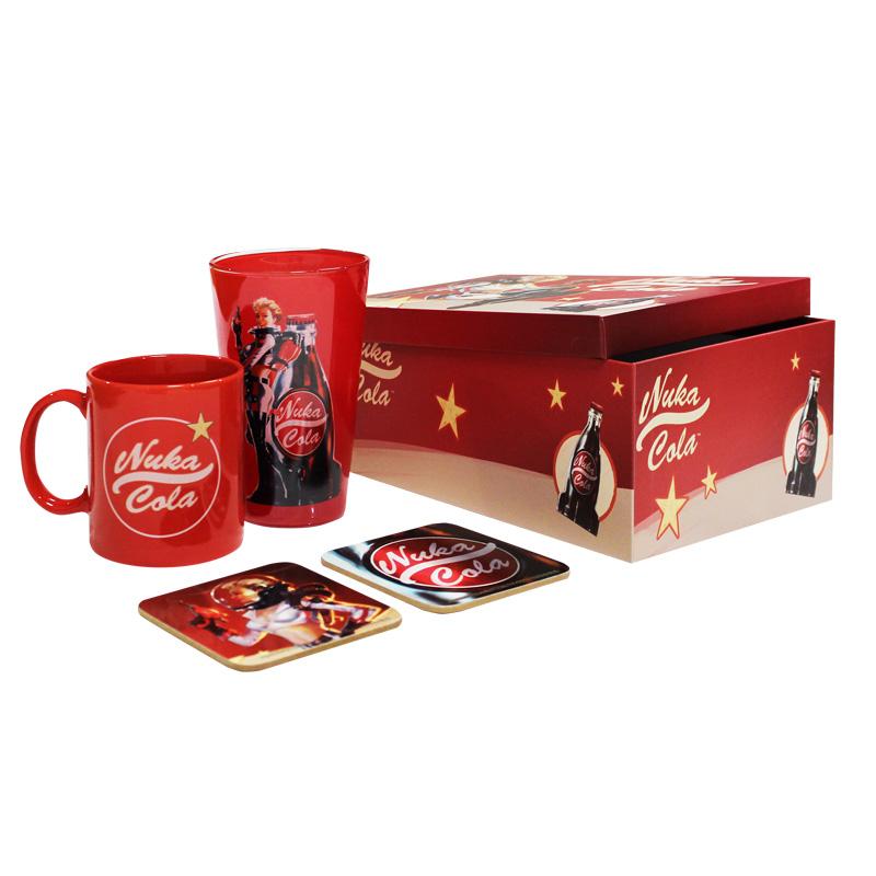 Promotion sur ensemble de coffret cadeau Exemple Fallout Coffret Nuka Cola : Mug + Verre + 2 Sous tasses