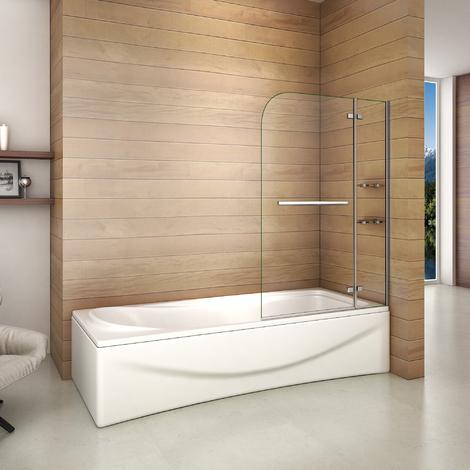 Pare baignoire pivotant - 100x140cm, pivote à 90 degré, verre securit avec porte-serviette