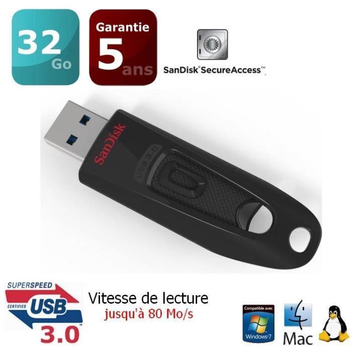 Clé USB 3.0 SanDisk Ultra - 32 Go